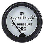 Restoration Quality Oil Pressure Gauge, Black Bezel (0-50 PSI)
