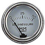 Restoration Quality Oil Pressure Gauge, (0-50 PSI) Dash mounted, Stainless Bezel