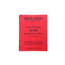 MCD A-192 Plow Owners Manual  ---  Setting Up Instructions / Parts List