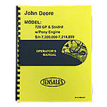 Operators Manual Reprint: JD 720 Diesel Pony Start Early Serial Numbers