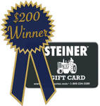 April winner of $200 Steiner Tractor Parts Gift Card